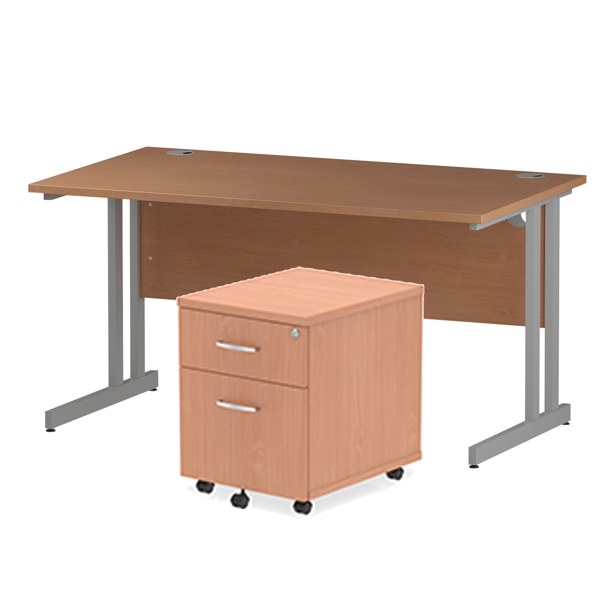 Desks Trexus Cantilever Desk 1400x800 & 2 Drawer Pedestal Beech Bundle Offer Feb-Apr 2020