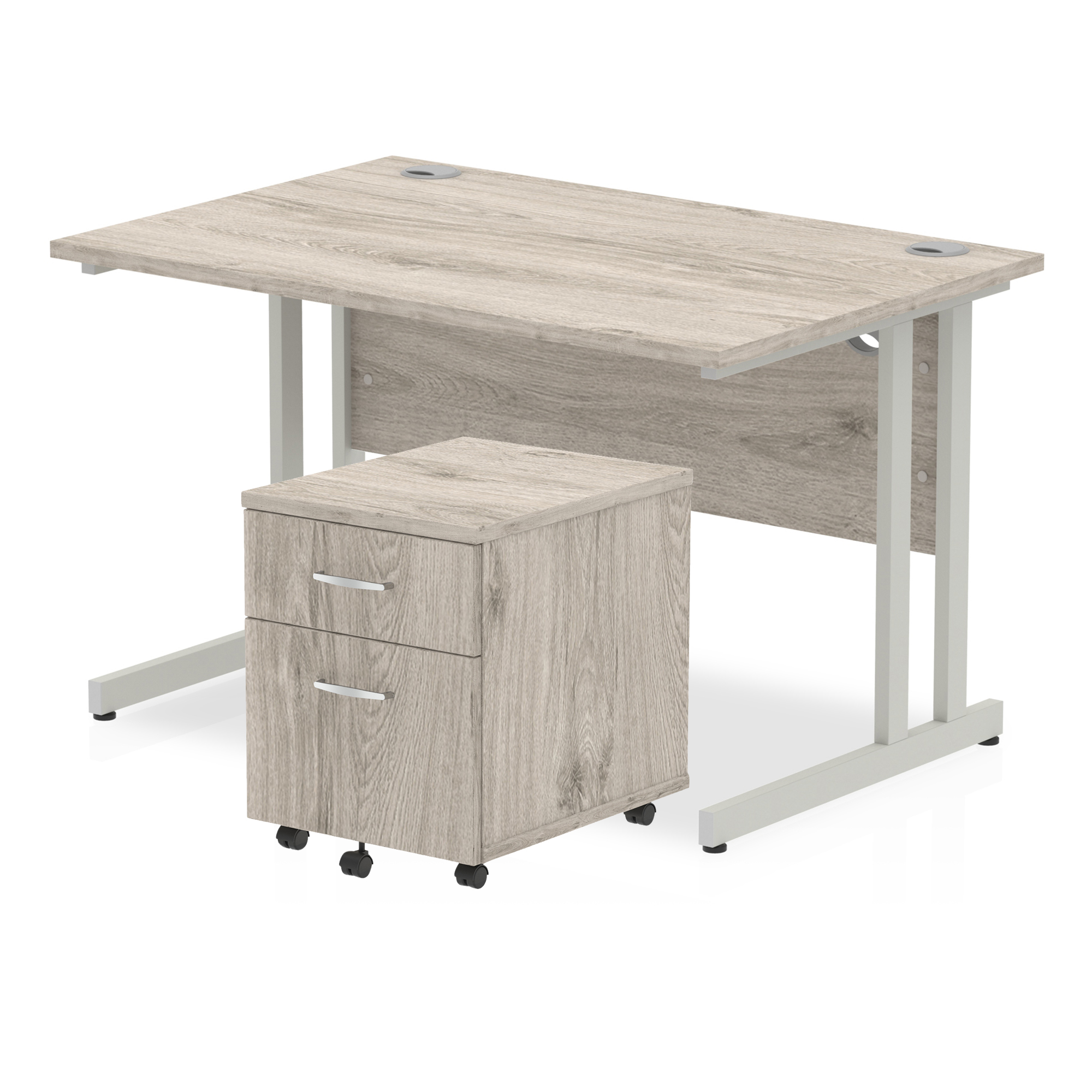 Desks Trexus Cantilever Desk 1200x800 & 2 Drawer Pedestal Grey Oak Bundle Offer Feb-Apr 2020