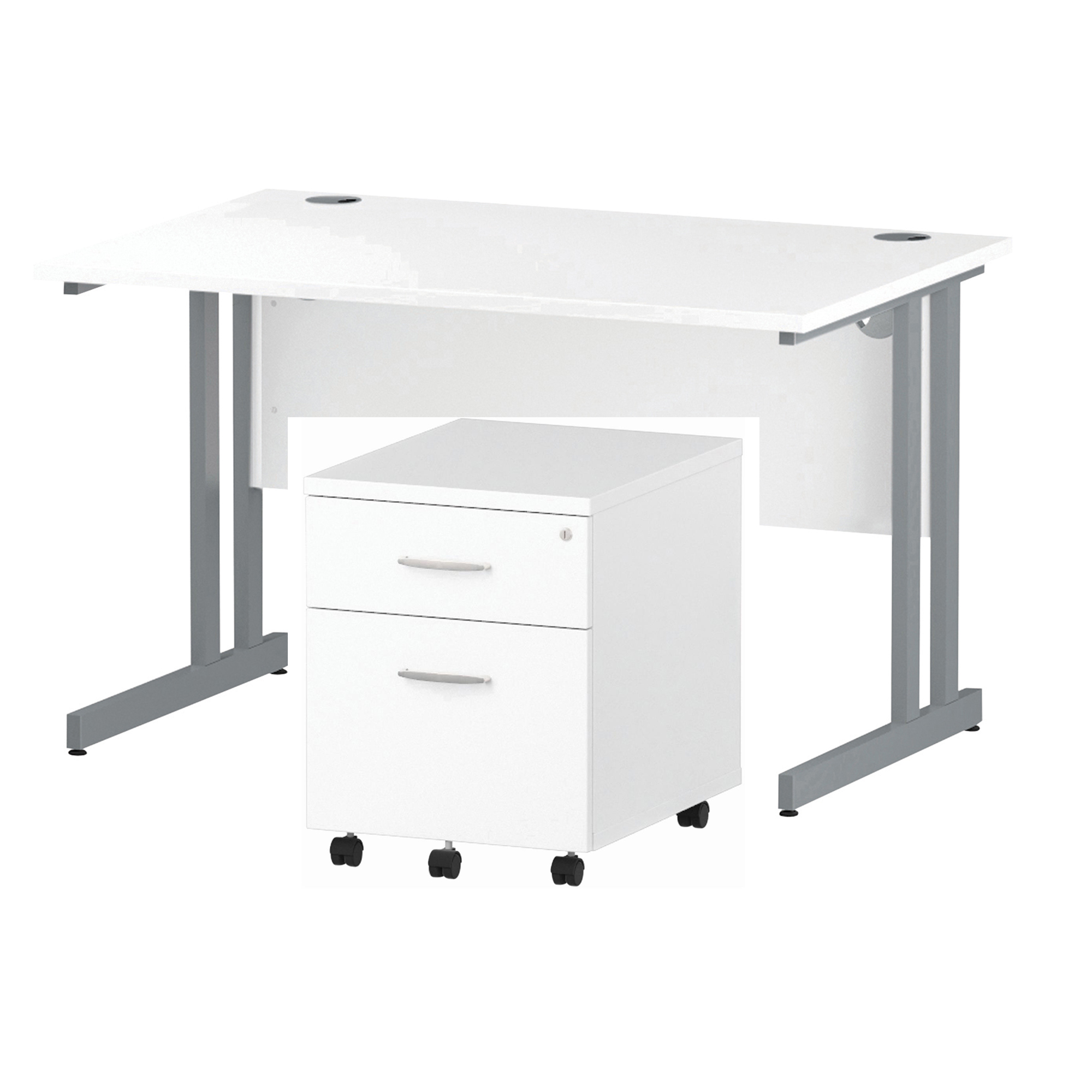 Desks Trexus Cantilever Desk 1200x800 & 2 Drawer Pedestal White Bundle Offer Feb-Apr 2020