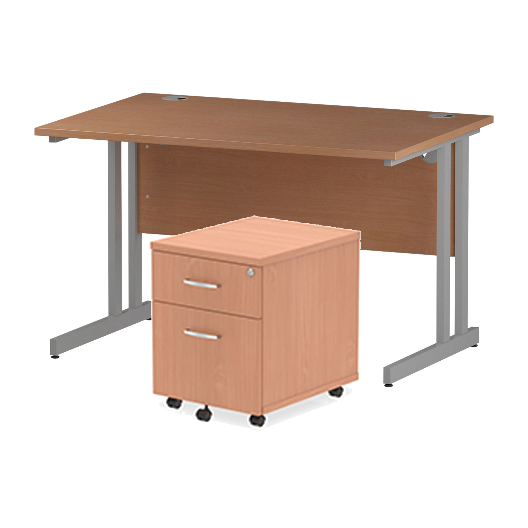 Desks Trexus Cantilever Desk 1200x800 & 2 Drawer Pedestal Beech Bundle Offer Feb-Apr 2020