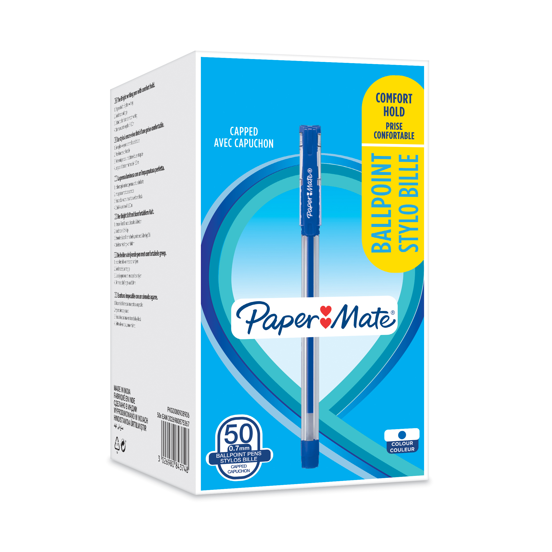 Paper Mate Ball Point Pen 0.7mm Capped Ergonomic Grip Blue Ref 2084374 Box 50