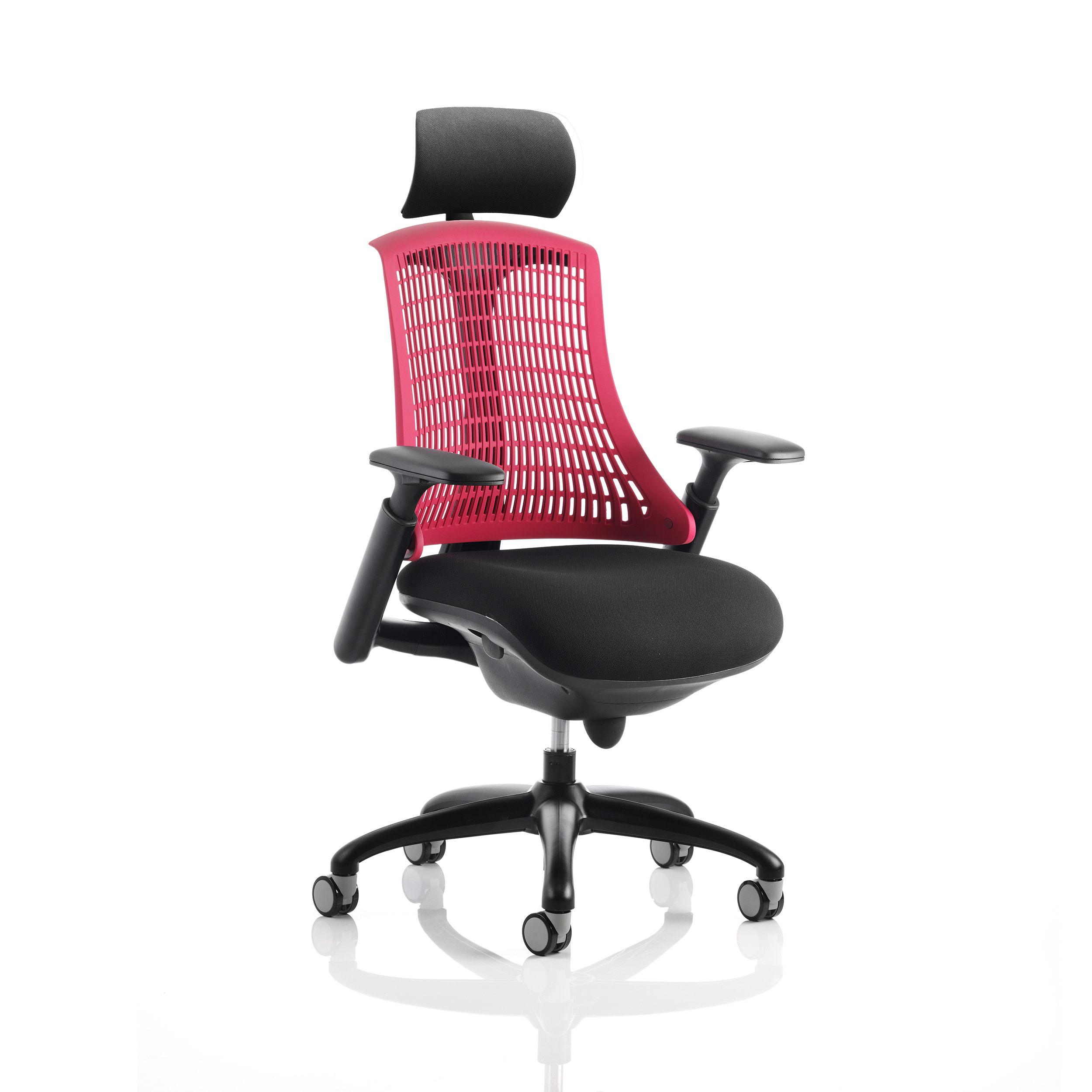 Executive seating Trexus Flex Task Operator Chair With Arms and Headrest Black Fabric Seat Red Back Black Frame Ref KC0105