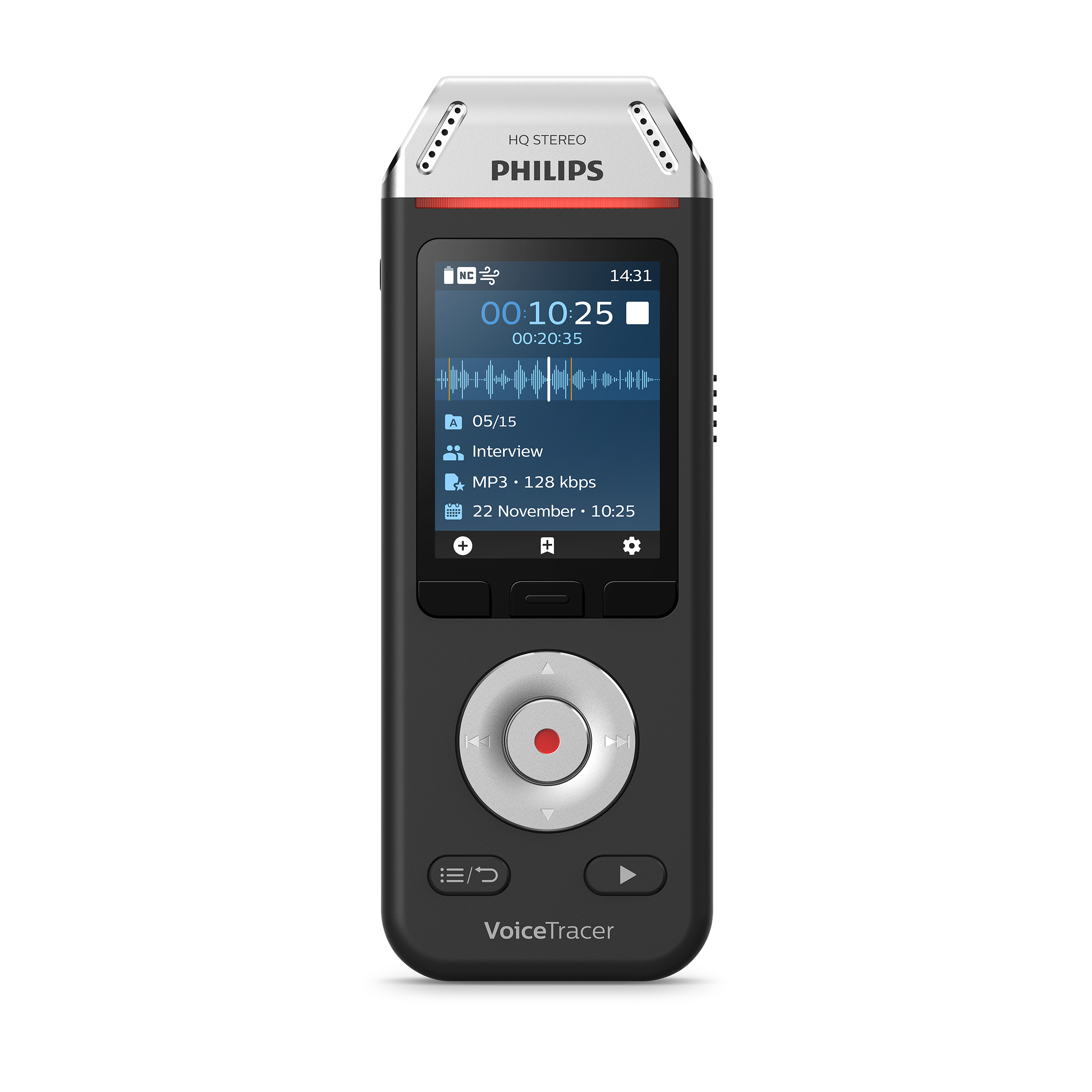 Digital voice recorders Philips DVT2110 VoiceTracer Recorder Colour Display 8GB USB-C Connection Ref DVT2110/00