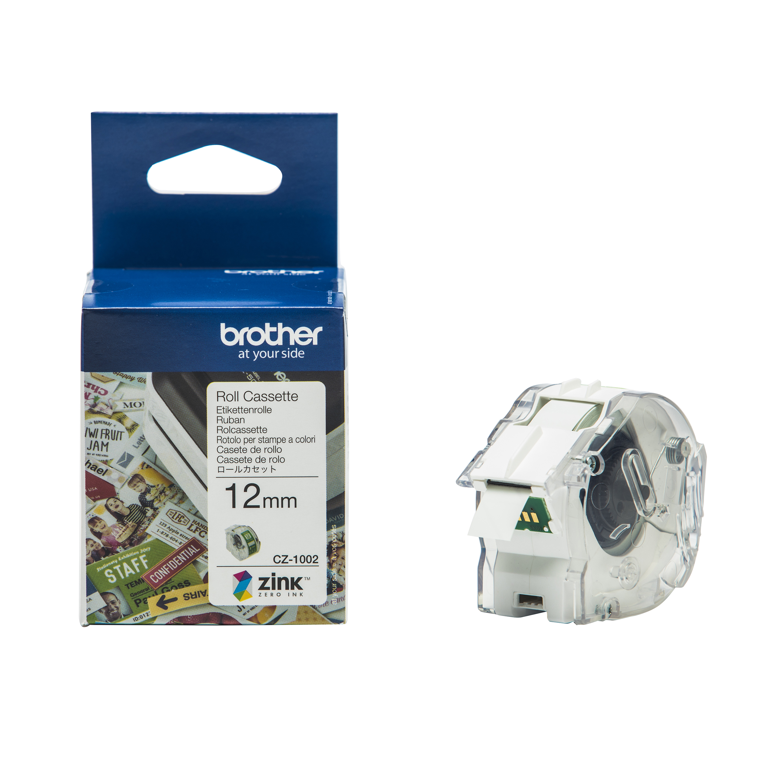 Label making tapes Brother Colour Label Printer 12mm Wide Roll Cassette Ref CZ1002