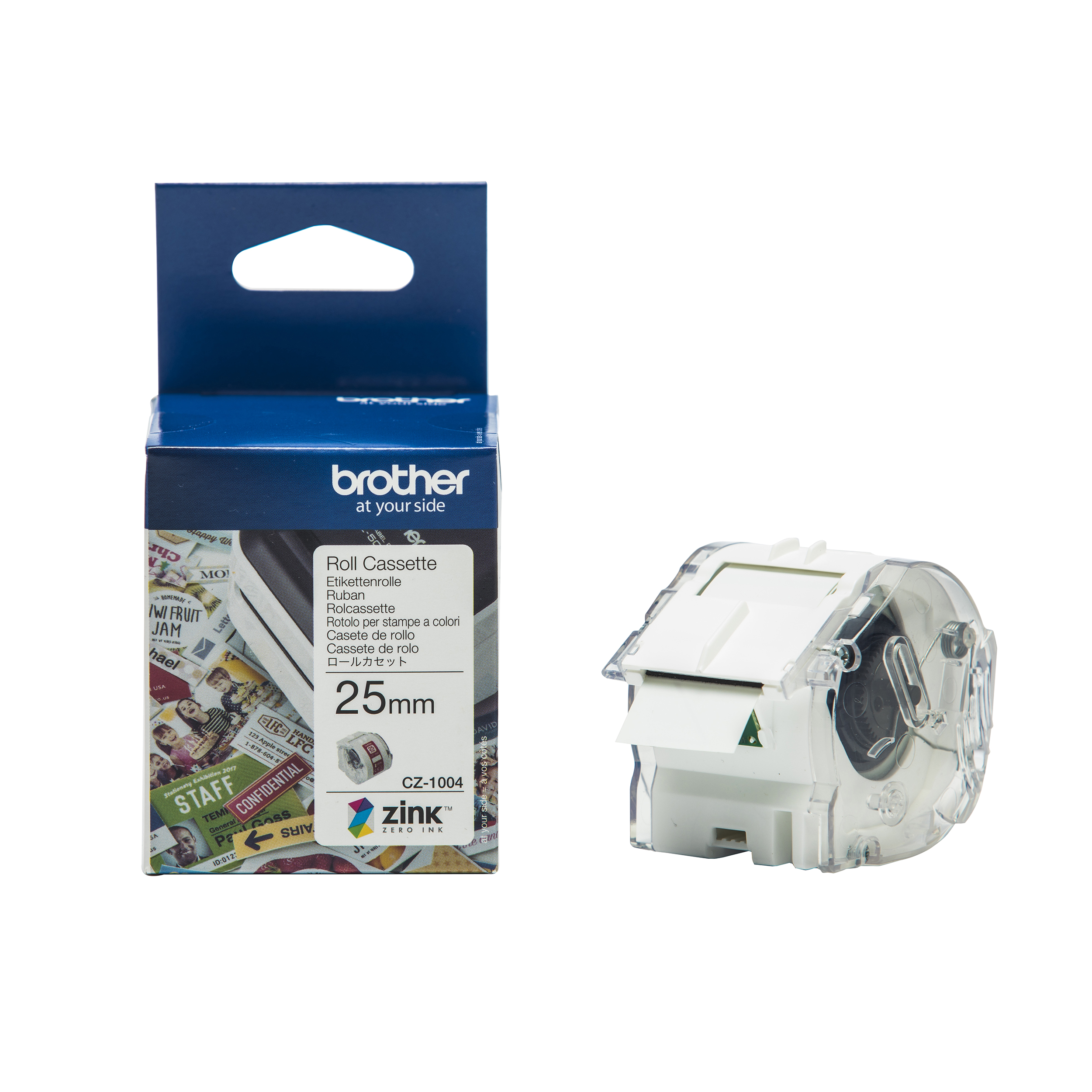 Label making tapes Brother Colour Label Printer 25mm Wide Roll Cassette Ref CZ1004
