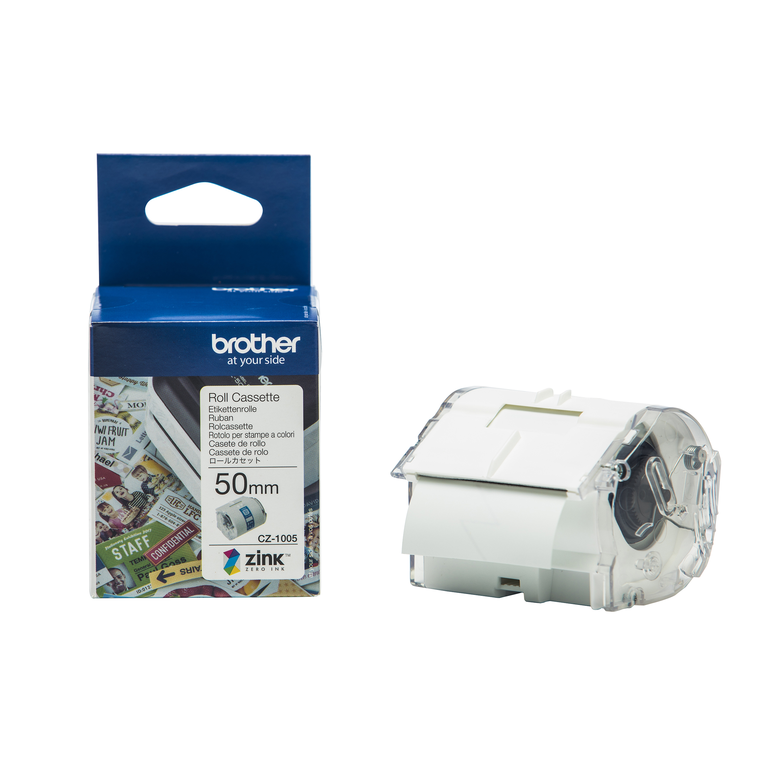 Label making tapes Brother Colour Label Printer 50mm Wide Roll Cassette Ref CZ1005