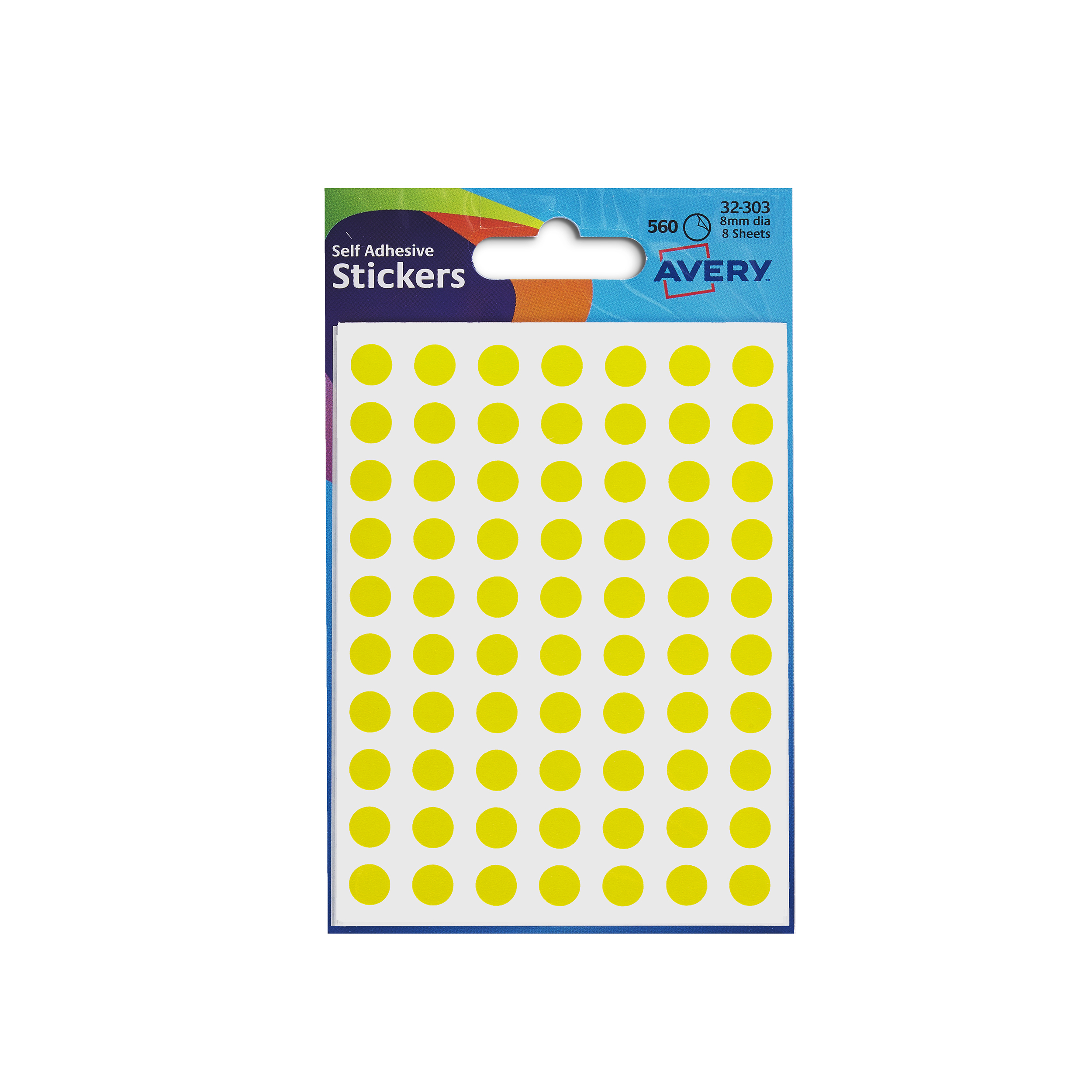 Avery Packets of Labels Round Diam.8mm Yellow Ref 32-303 10x560 Labels