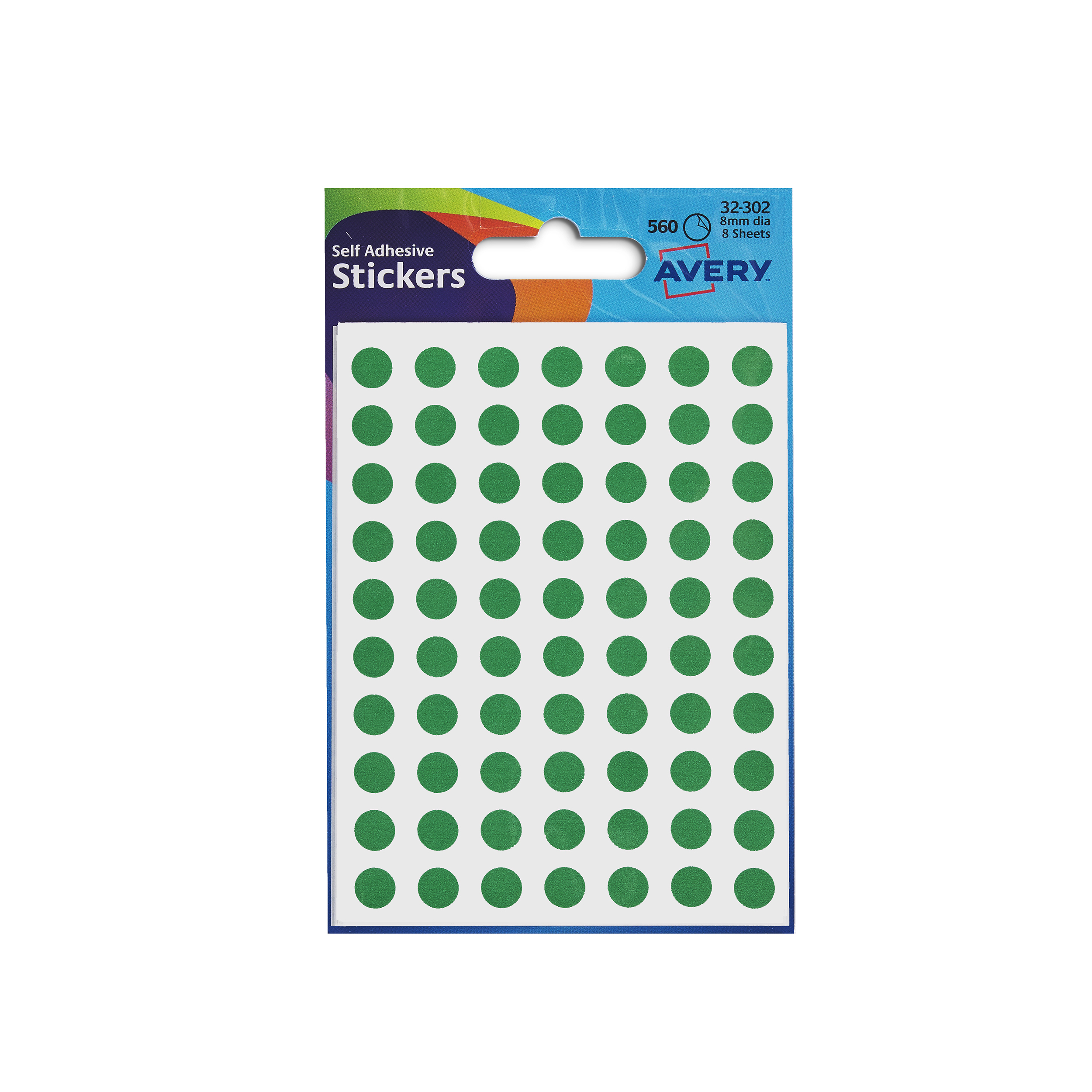 Avery Packets of Labels Round Diam.8mm Green Ref 32-302 10x560 Labels