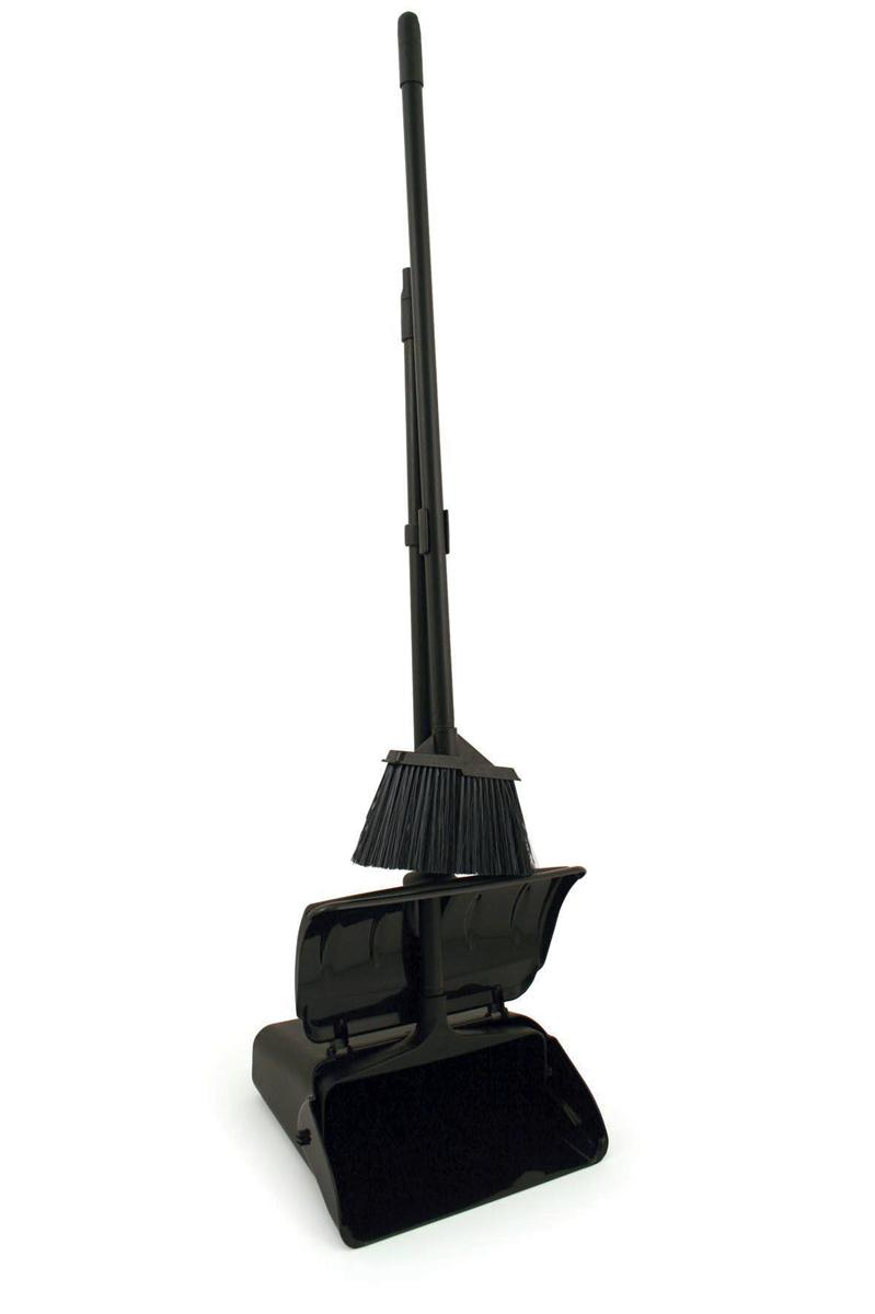 Dustpan and Brush Set Heavy Duty Long Handled With Lid Black