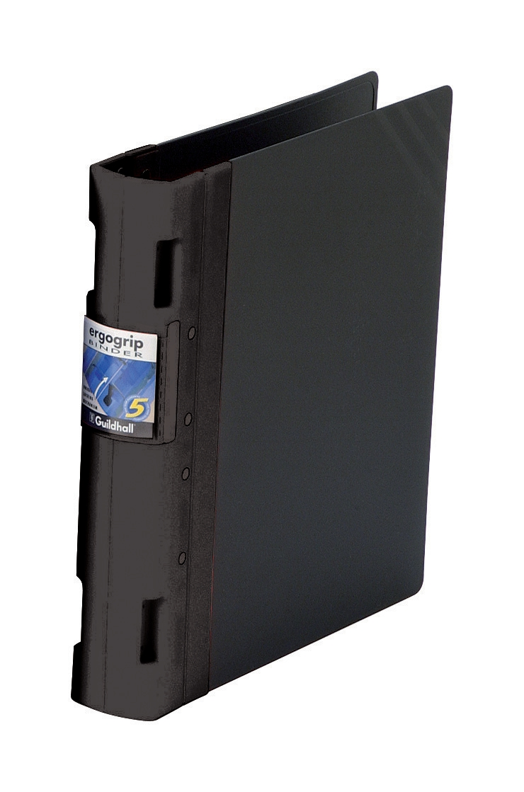 Image for Guildhall GLX Ergogrip Binder Capacity 400 Sheets 4x 2 Prong 55mm A4 Black Ref 4537Z [Pack 2]