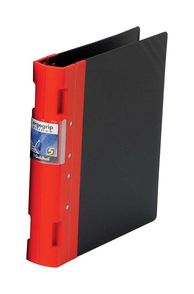 Image for Guildhall GLX Ergogrip Binder Capacity 400 Sheets 4x 2 Prong 55mm A4 Red Ref 4533Z [Pack 2]