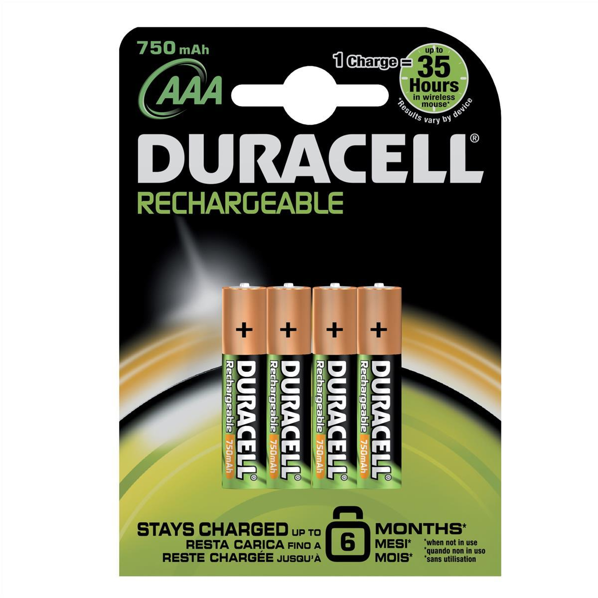 Image for Duracell Battery Rechargeable Accu NiMH 750mAh AAA Ref 81364750 [Pack 4]