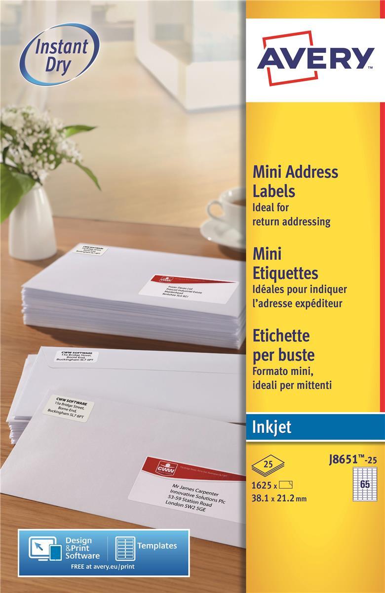 Image for Avery Mini Labels Inkjet 65 per Sheet 38.1x21.2mm White Ref J8651-25 [1625 Labels]