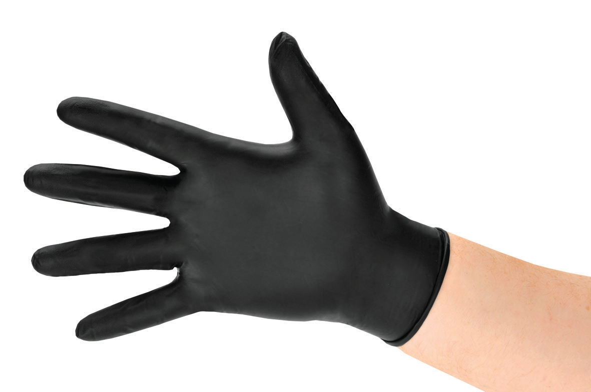 Nitrile Gloves Abrasion-resistance Rolled-cuff Medium Black [Pack 100]