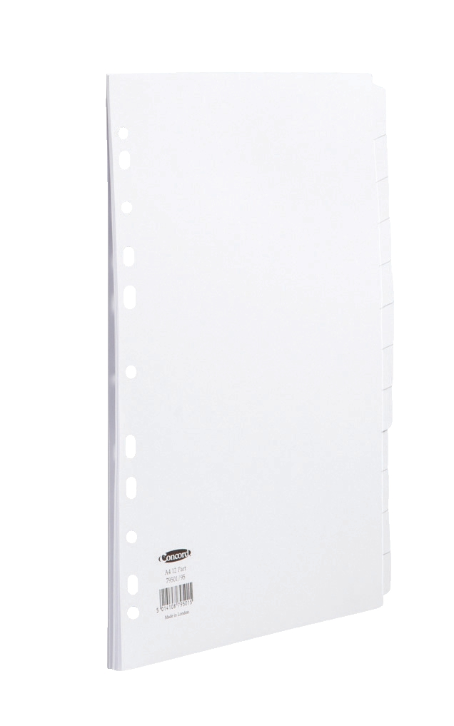 Image for Concord Subject Dividers 150gsm Punched 11 Holes 12-Part A4 White Ref 79501