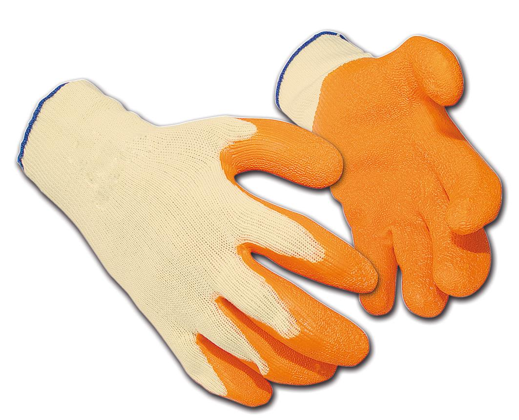 Latex Gloves Polyester Cotton Medium Orange [12 Pairs]
