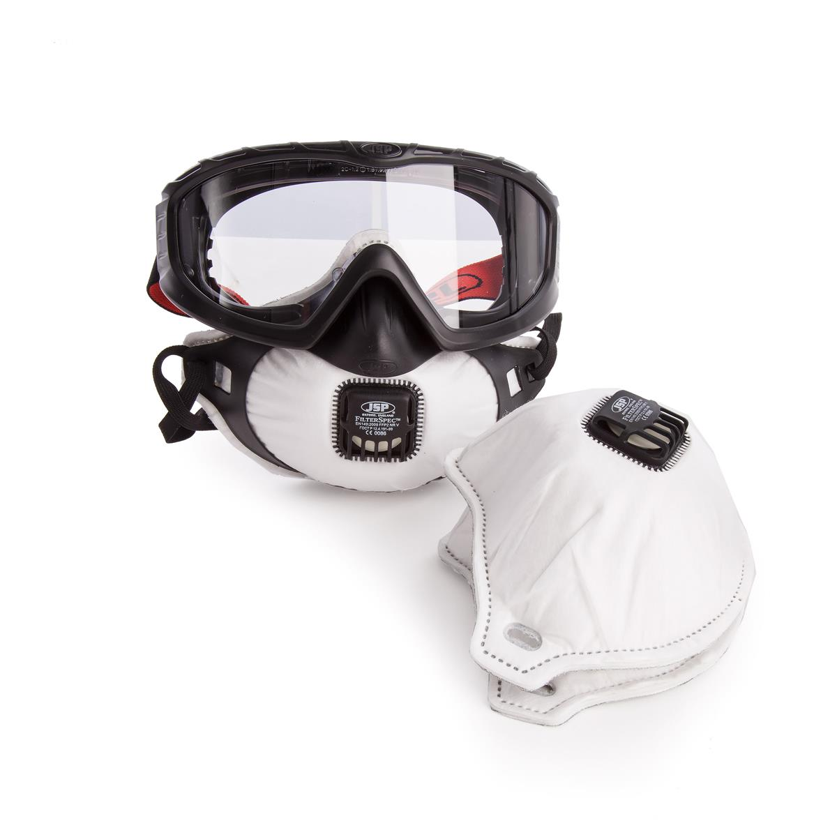 JSP FilterSpec Pro FMP2 Safety Goggle Mask Black 3 Valved Filters Anti-Mist Lens Clear Ref AGE120-201-100