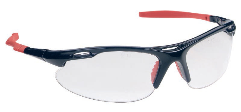 Martcare Sports Spectacles Rubber Nosepad Dual-curved Lenses Clear Lens Black/Red Ref ASA748-161-100