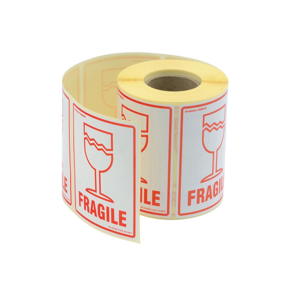 Image for Parcel Labels Fragile 108x79mm on Roll Diameter 210mm [500 Labels]