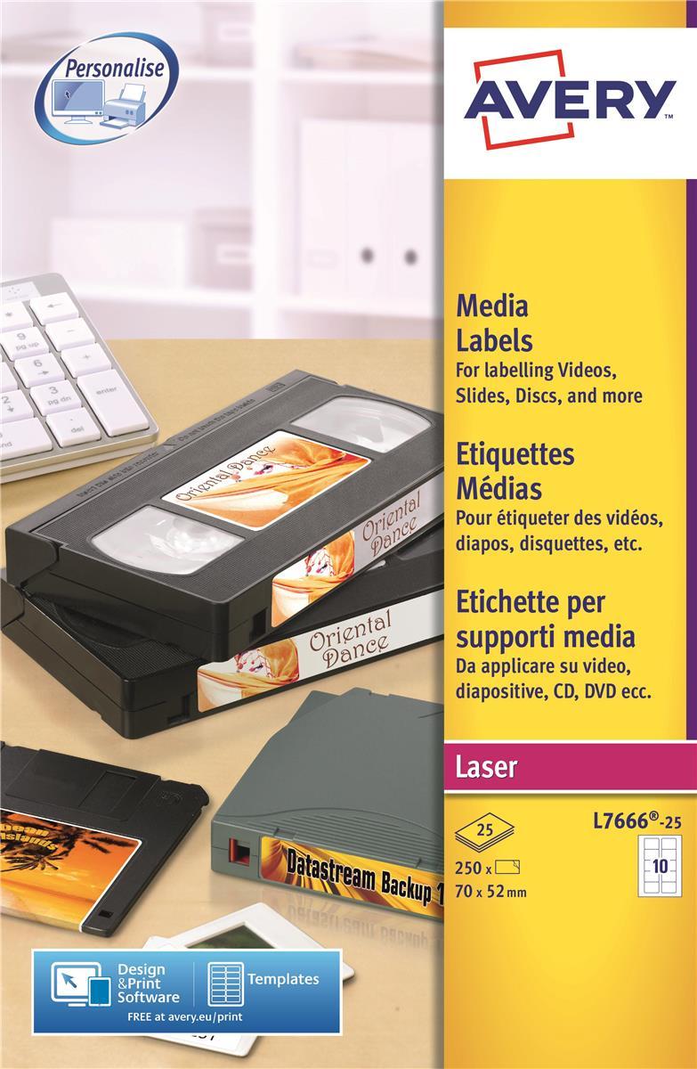 Avery Media Labels Laser 3.5 inch Disk 10 per Sheet 70x52mm Ref L7666-25 [250 Labels]