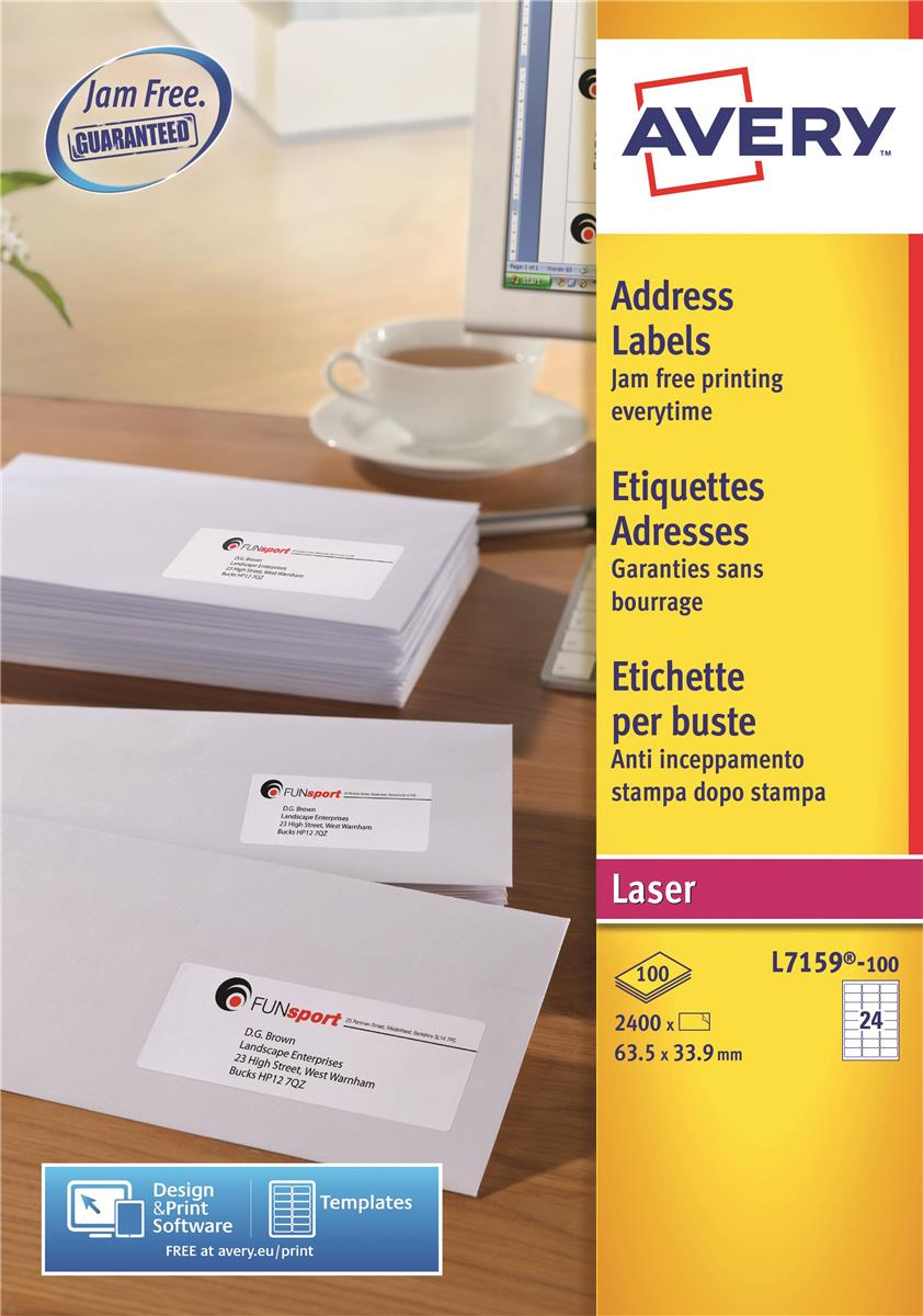 Image for Avery Addressing Labels Laser Jam-free 24 per Sheet 63.5x33.9mm White Ref L7159-100 [2400 Labels]