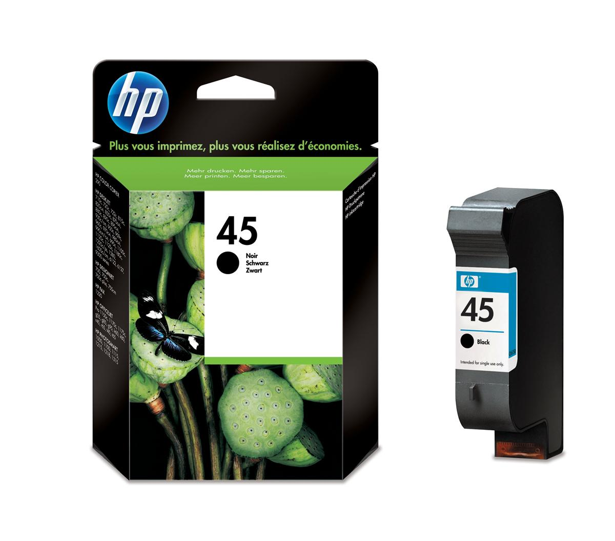 Hewlett Packard [HP] No. 45 Inkjet Cartridge Page Life 930pp 42ml Black Ref 51645AE-ABB