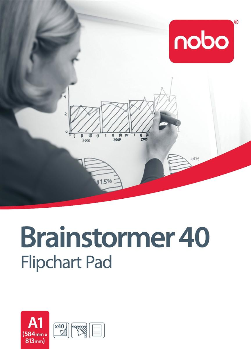 Nobo Brainstormer Flipchart Pad Perforated 70gsm 40 Sheets A1 Feint Lined Ref 34633719 [Pack 5]