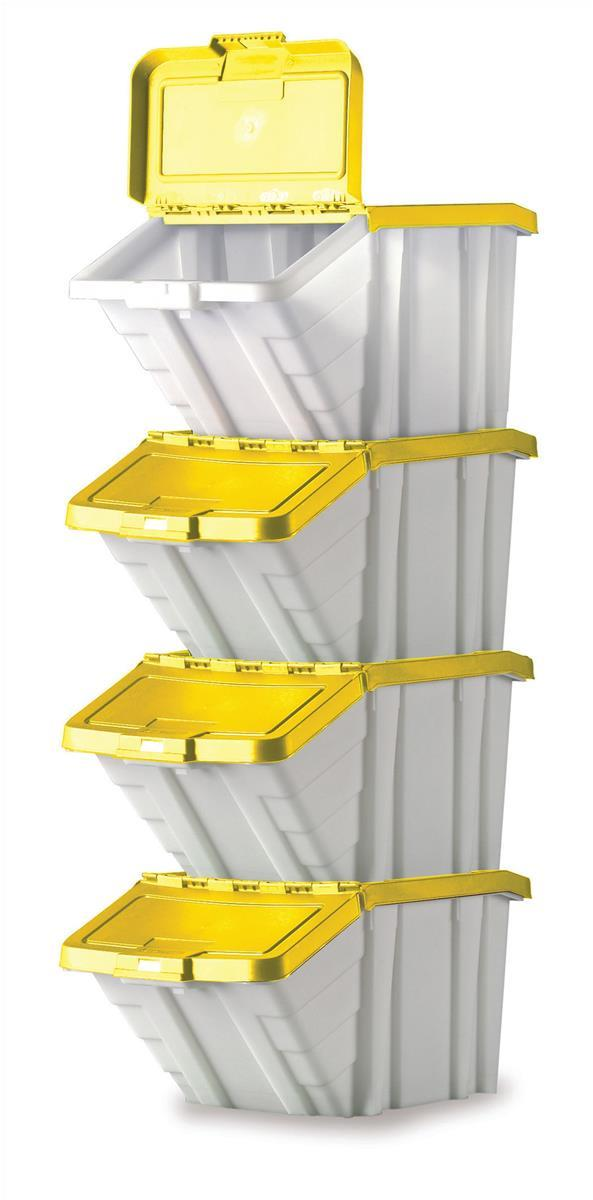 Image for Storage Container Bin 50L 30kg Load W390xD630xH340mm White and Yellow Lid [Pack 4]