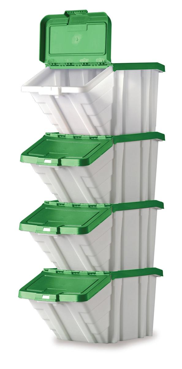 Image for Storage Container Bin 50L 30kg Load W390xD630xH340mm White and Green Lid [Pack 4]