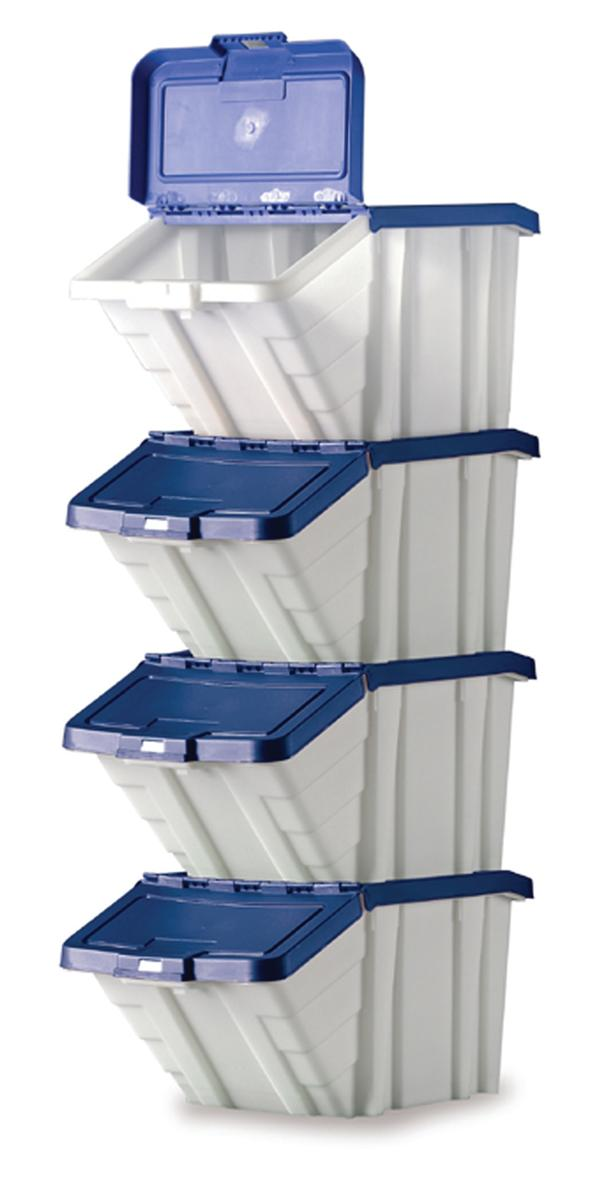 Image for Storage Container Bin 50L 30kg Load W390xD630xH340mm White and Blue Lid [Pack 4]