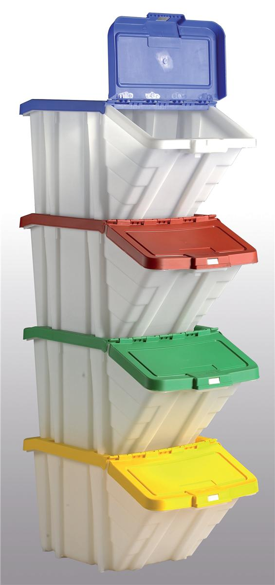 Image for Storage Container Bin 50L 30kg Load W390xD630xH340mm White and Assorted Lids [Pack 4]