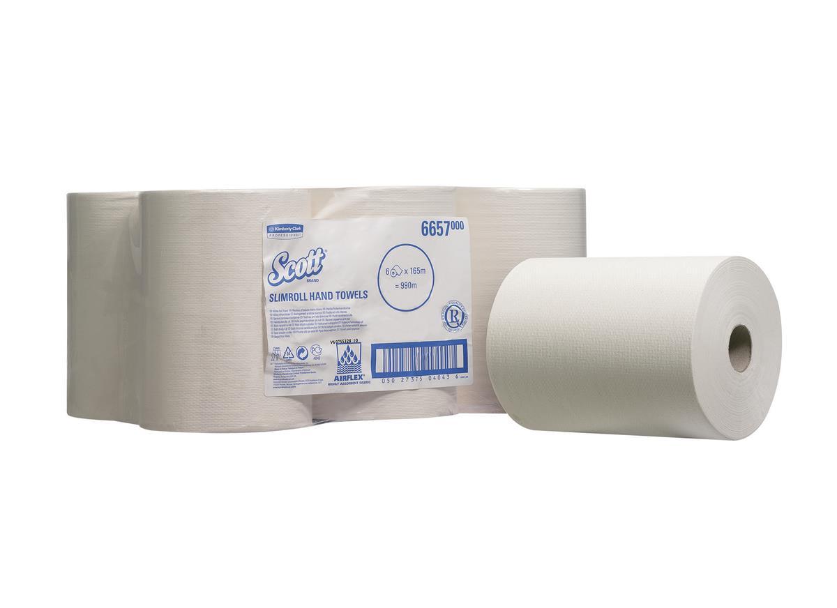 Scott Slimroll Hand Towel Single Ply White 200mmx165m Ref 6657 [Pack 6]