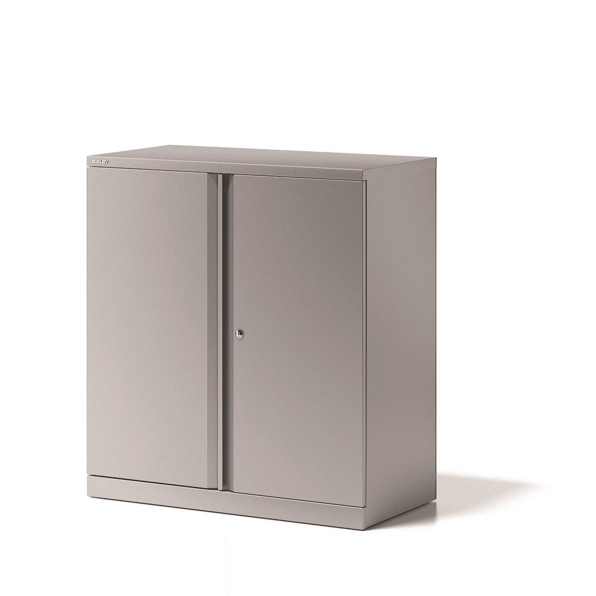 Image for Bisley Cupboard Steel Low 2-Door 1-Shelf W914xD470xH1000-1015mm Grey Ref YECB0910/1S