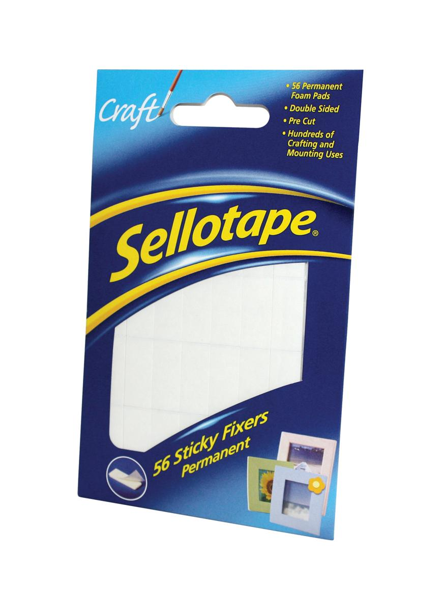 Image for Sellotape Sticky Fixers Double-sided 12x25mm 56 Pads Ref 1445423 [Pack 12]