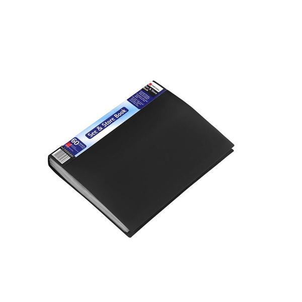 Rexel See and Store Book with Full-length Spine Ticket 60 Pockets A4 Black Ref 10565BK