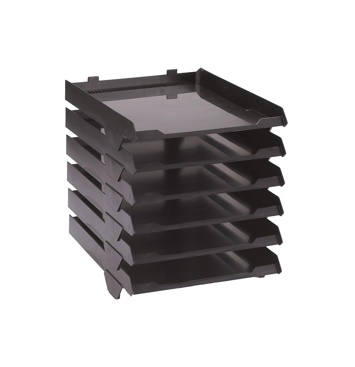 Image for Avery Paperstack Letter Tray Self-stacking A4 W250xD320xH300mm Black Ref 5336BLK [Pack 6]