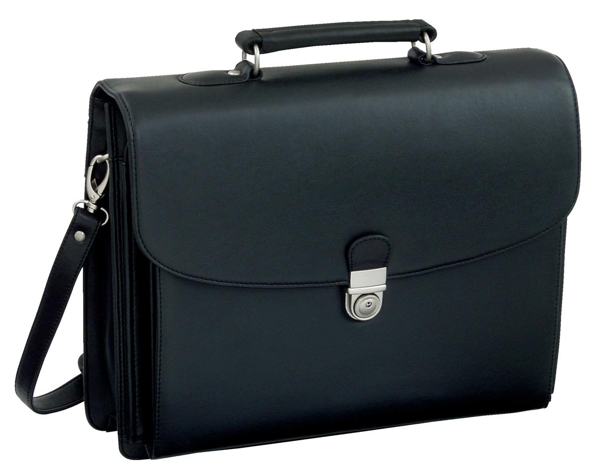 Image for Alassio Forte Briefcase with Shoulder Strap 5 Document Sections Leather-look Black Ref 92011