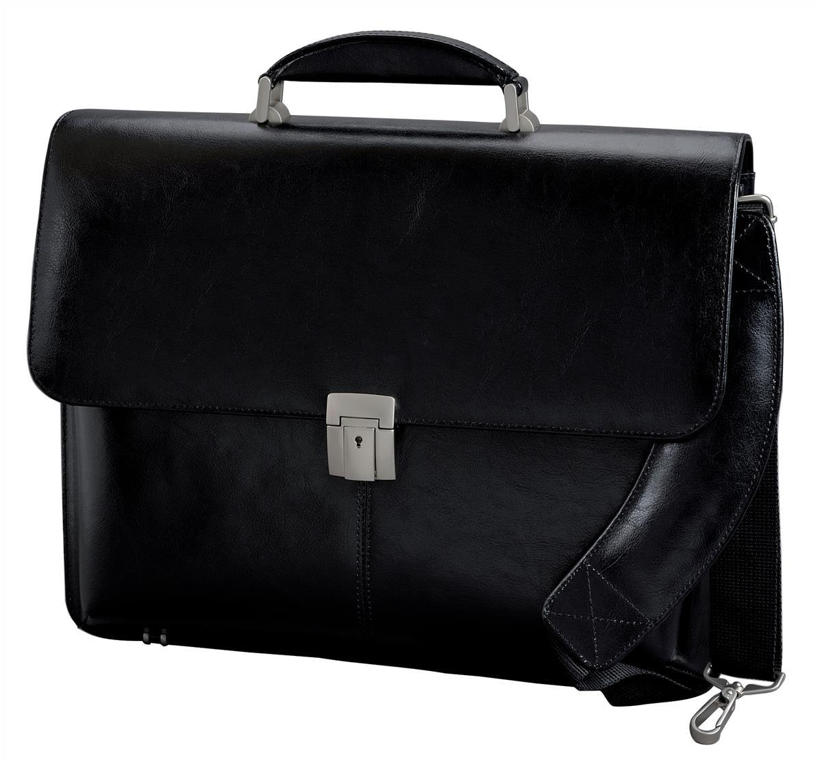 Image for Alassio Briefcase Multi-section with Shoulder Strap Leather Black Ref 47011
