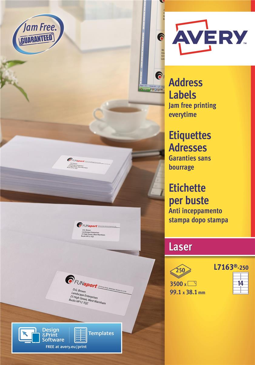 Image for Avery Addressing Labels Laser Jam-free 14 per Sheet 99.1x38.1mm White Ref L7163-250 [3500 Labels]