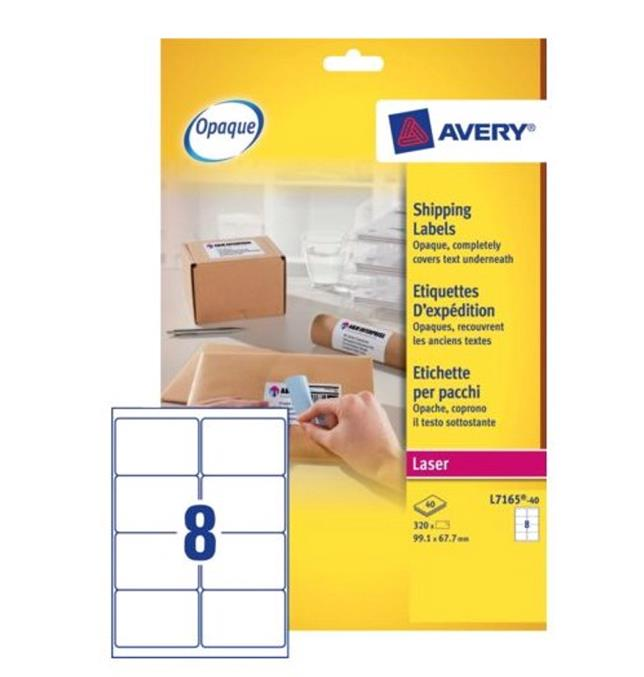 Image for Avery Addressing Labels Laser Jam-free 8 per Sheet 99.1x67.7mm White Ref L7165-40 [320 Labels]