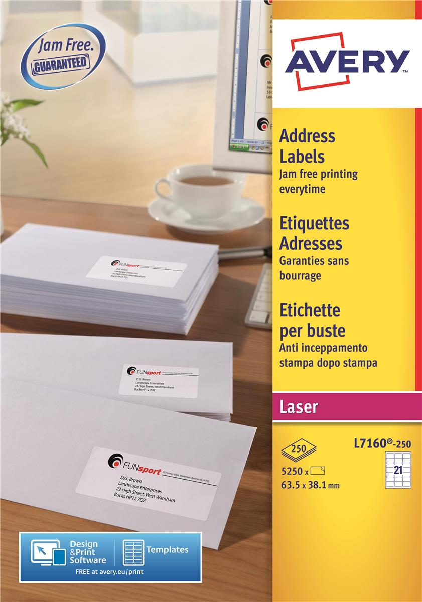 Image for Avery Addressing Labels Laser Jam-free 21 per Sheet 63.5x38.1mm White Ref L7160-250 [5250 Labels]