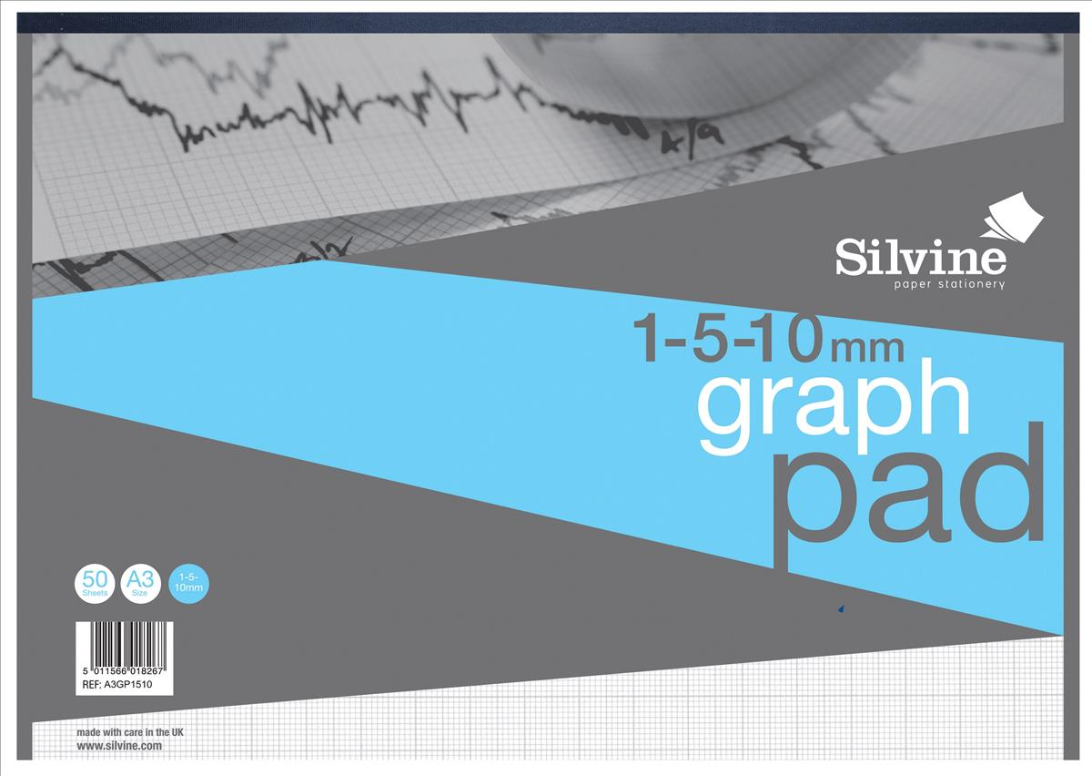 Image for Silvine Student Graph Pad 90gsm 1mm 5mm 10mm Grid 30 Sheets A3 Ref A3GP1510