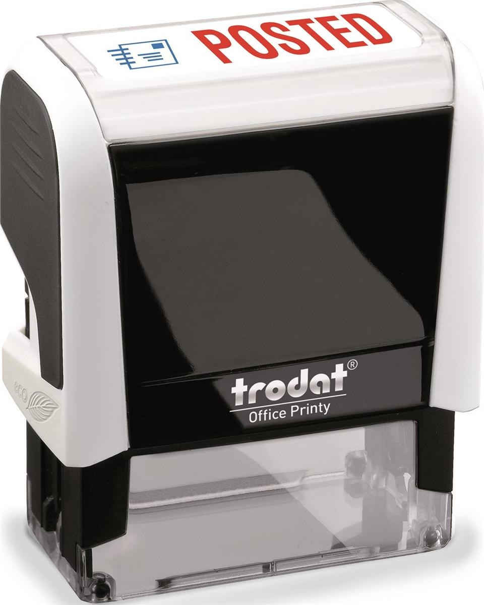 Image for Trodat Office Printy Stamp Self-inking - Posted - 18x46mm Reinkable Red and Blue Ref 43342