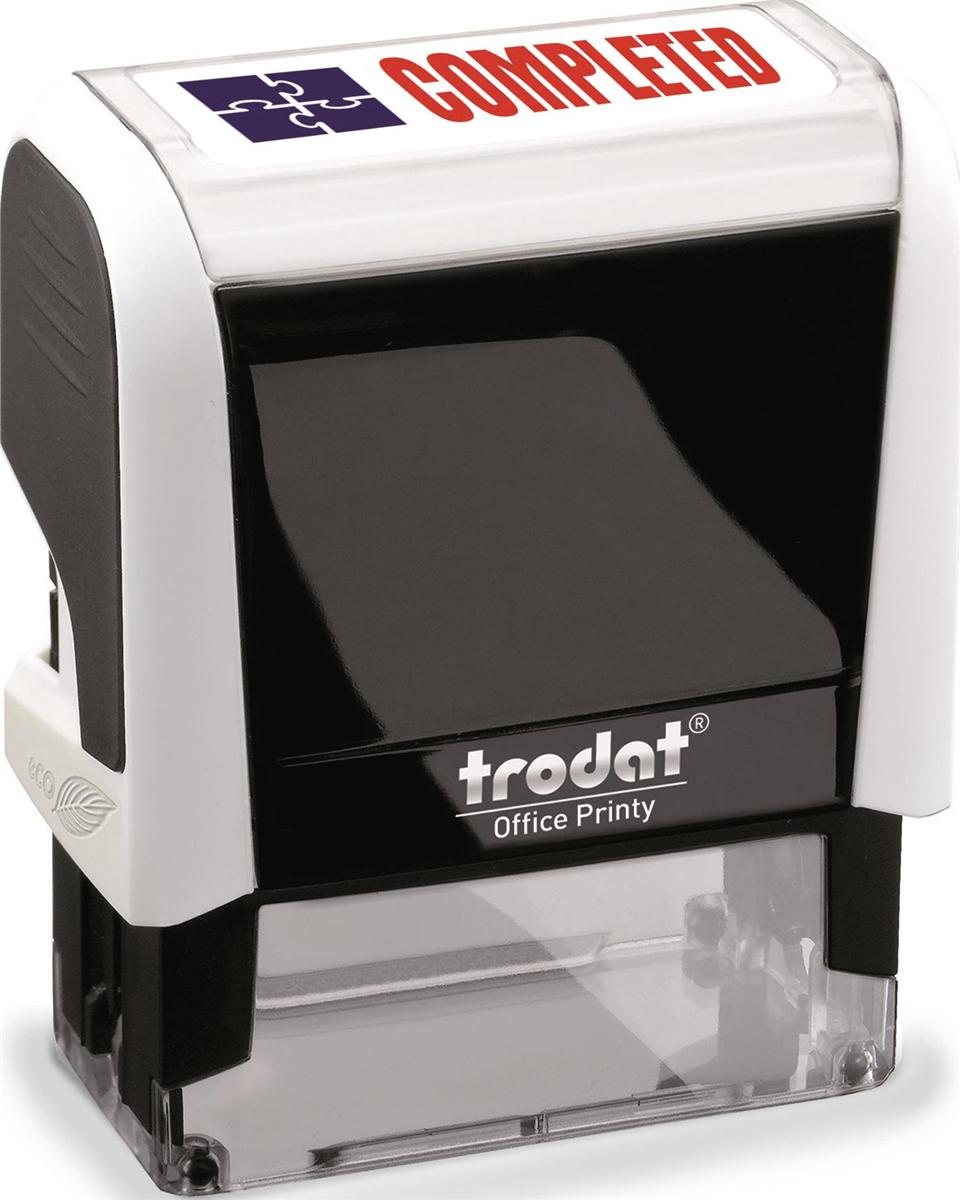 Image for Trodat Office Printy Stamp Self-inking - Completed - 18x46mm Reinkable Red and Blue Ref 54347
