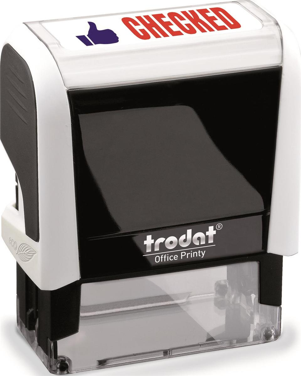 Image for Trodat Office Printy Stamp Self-inking - Checked - 18x46mm Reinkable Red and Blue Ref 54295