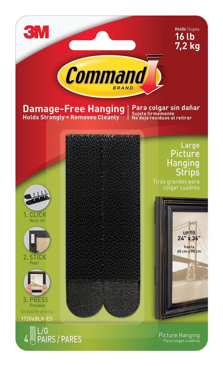 Image for Command Picture Hanging Strips Large Black Ref 17206BLK [4 Pairs]