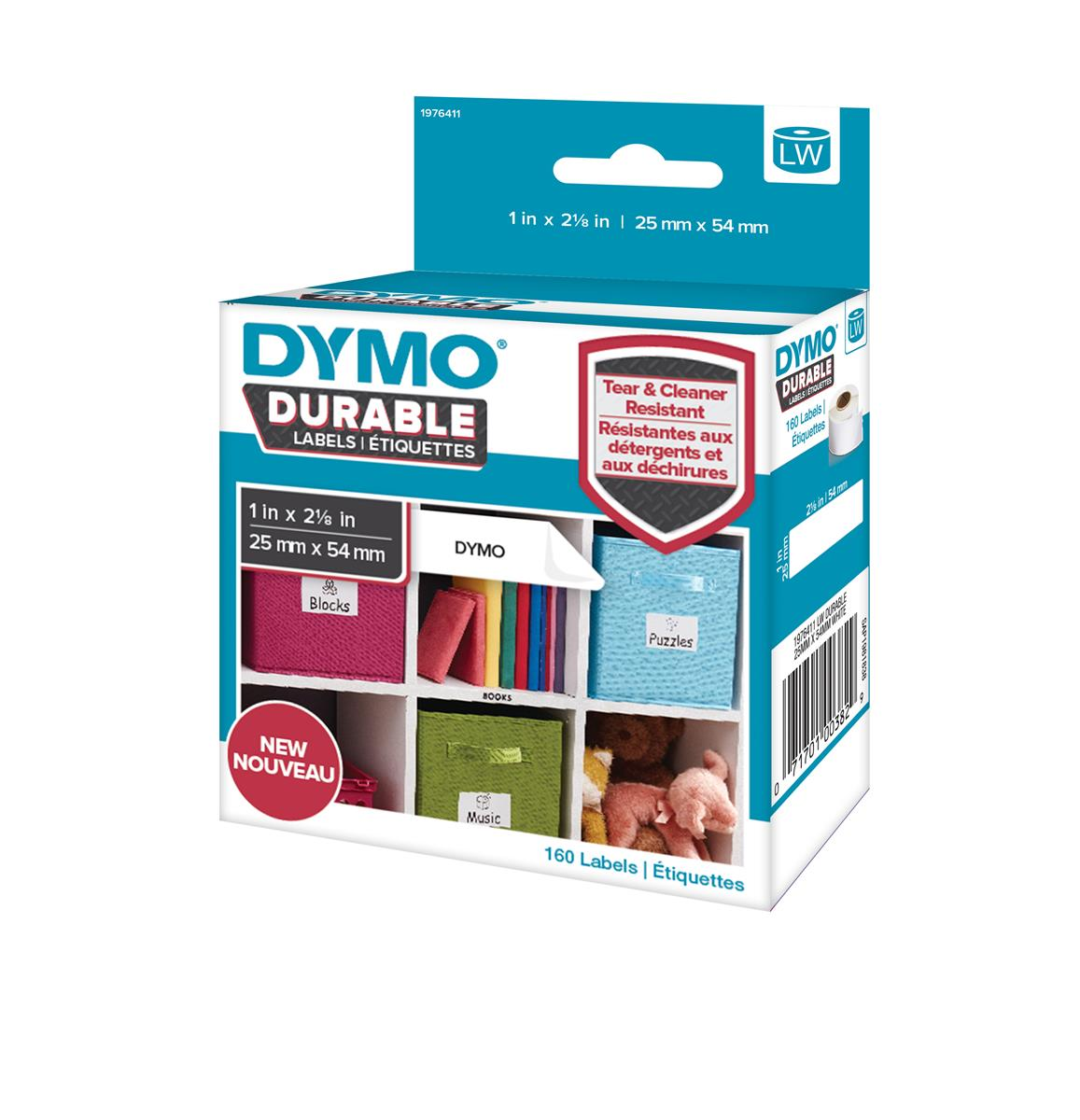 Dymo Durable Labels D1 Tape Temperature UV and Water Resistant 25mmx54mm White Ref 1976411 [Pack 160]