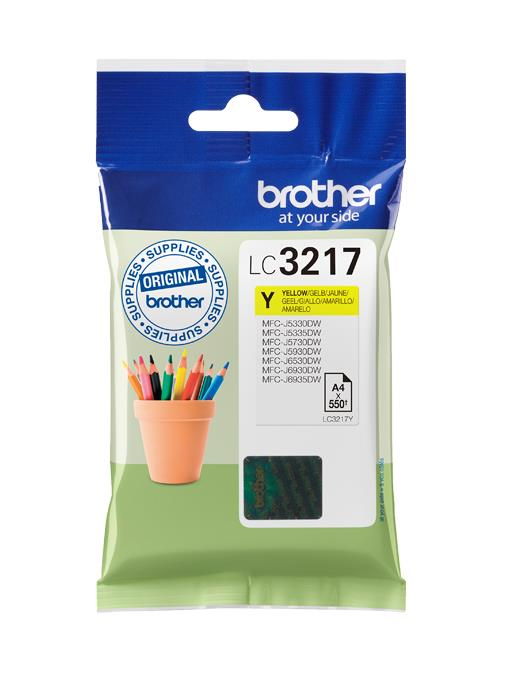 Brother Inkjet Cartridge Page Life 550pp Yellow Ref LC3217Y