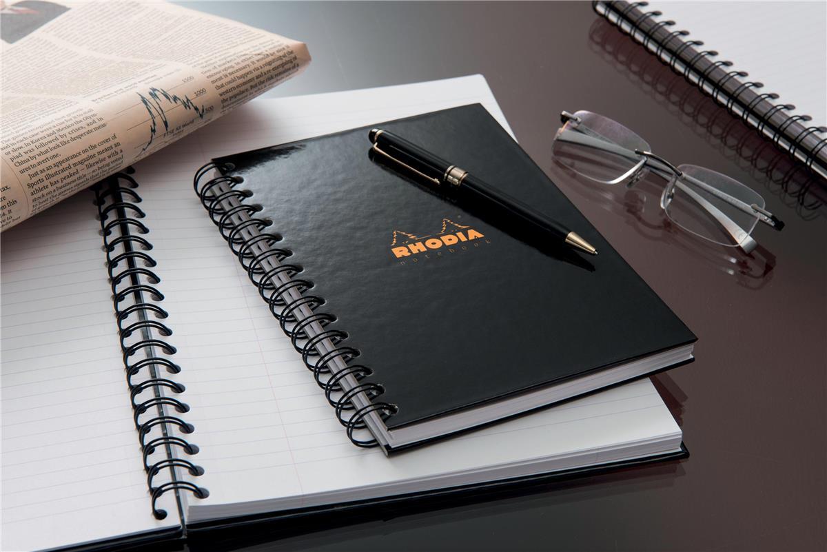 Rhodia Notebook Hardback Wirebound Lined & Margin A4 Ref 119232C [Pack 3]