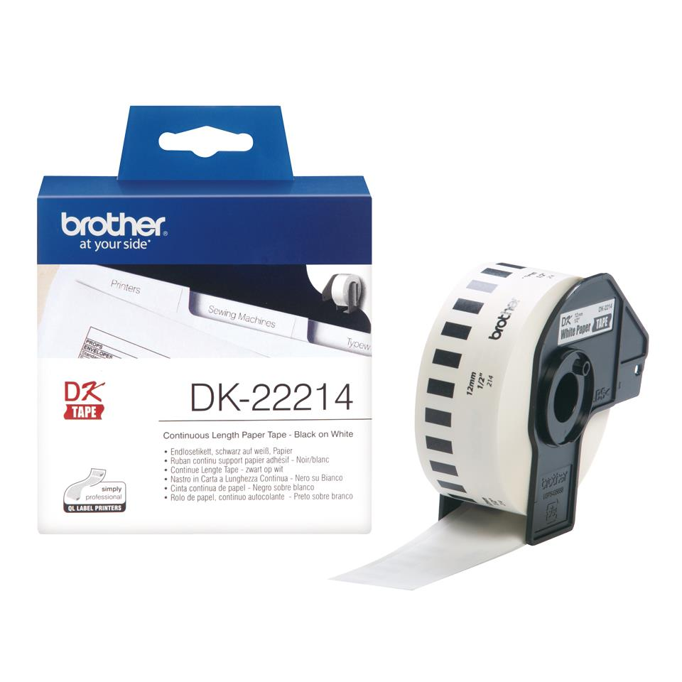 Image for Brother DK22214 Paper Label Roll Tape 12mm Wide Black on White Ref DK22214-1